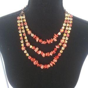 💐Three Tiers Orange & Yellow Necklace